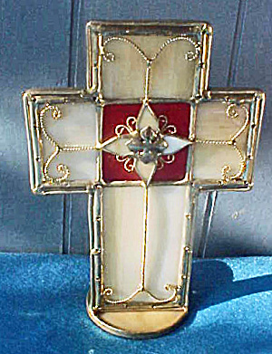 Stained Glass Style Cross - Candle Holder