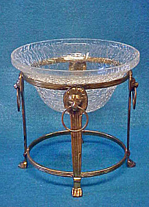Pedestal Crackle Glass Bowl From India