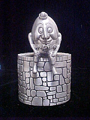 Humpty Dumpty Pewter Bank - Signed