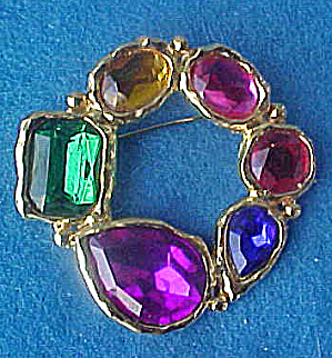 Faceted Crystal Mixed Glass Pin - Art Deco (Image1)