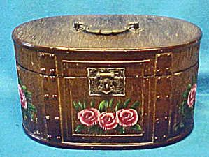 Victorian Style Oval Wood Box W/roses