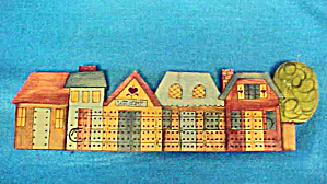Folk Art Small Town Cribbage Board (Image1)