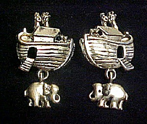 Noah's Ark Gold Toned Earrings