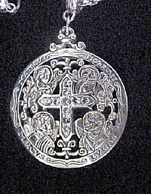 Silver Tone W/Crystals Vatican Necklace (Image1)