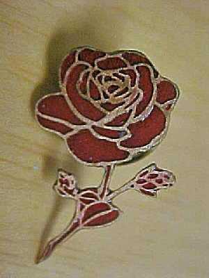 Vintage Rose Stained Glass Style Pin