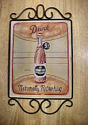 5¢ Drink Orange Beverages Ad Sign (Image1)