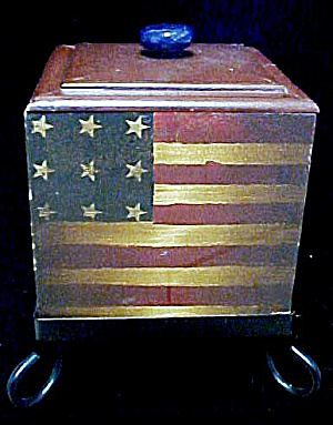 American Flag Wooden Box W/cast Iron Stand