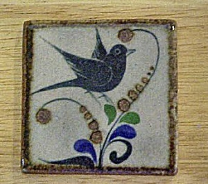 Blue Bird w/Flowers Ceramic Art Tile (Image1)