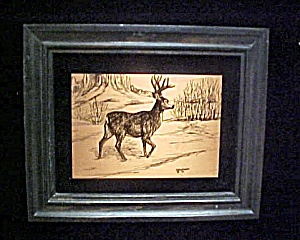 Vintage Copper Etching of Deer - Signed (Image1)