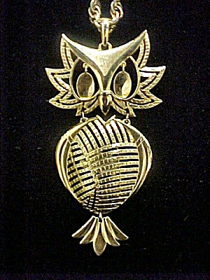 Vintage Gold Tone Owl Necklace - Signed