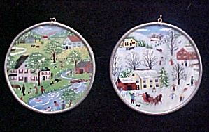 Pair Painted Glass Country Winter Scenes