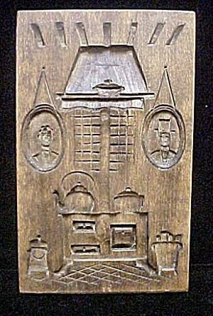 Wood Carved Picture of Period At Home Scene (Image1)