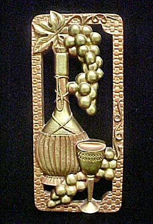 Wine Bottle, Grapes And Goblet Plaque