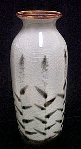 Black/Light Grey Floral Ceramic Vase (Image1)