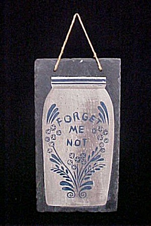 Forget Me Not Handpainted Slate Wall Decor (Image1)