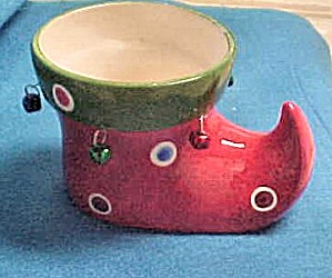 Ceramic Christmas Elf Boot w/Bells (Image1)