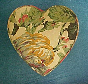 Floral Fabric Heart Shaped Box