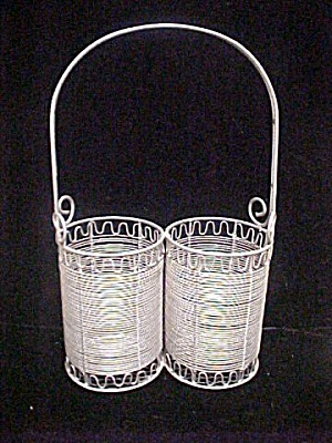 White Wire Metal Bottle Holders - Holds Two