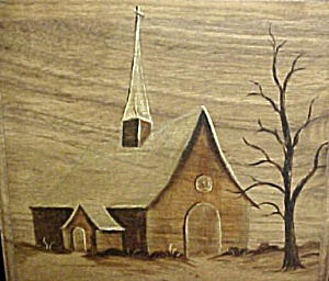 Original Church Wood Grain Painting - Signed (Image1)