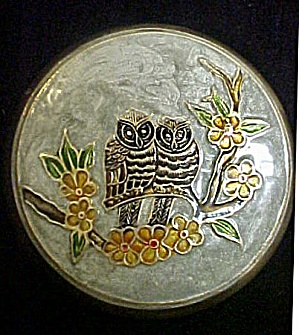 Brass Box w/Enameled Lid w/Owls (Image1)