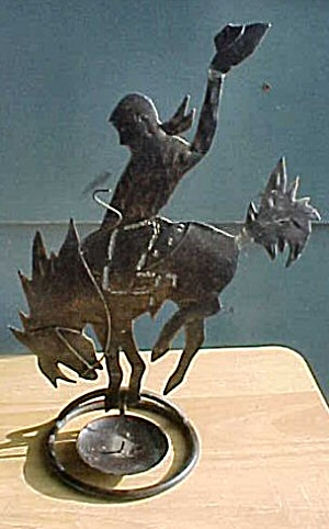 Vintage Tin Bucking Cowboy Candle-Holder (Image1)