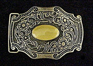 Western Floral Belt Buckle w/Oval Cabochon (Image1)