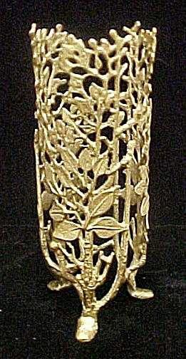 Chinese Gold Toned Vines Bottle Holder