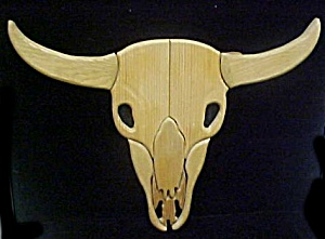 Wooden Carved Steer Scull (Image1)
