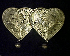 Two Vintage Brass Finished Hearts Pin