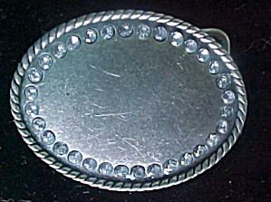 Oval Be-Jeweled Metal Belt Buckle (Image1)