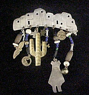 Pueblo Bar Pin W/dangles - Sw