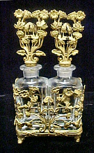 Pair Glass Perfume Bottles W/filigree Holder