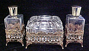 Ormolu Filigree Floral Dresser Set (Image1)
