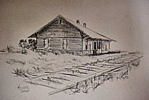 Print of Early Western Hilger Depot (Image1)