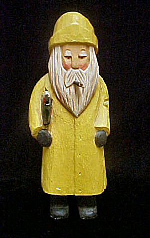 Wood Carved Fisherman - Signed (Image1)