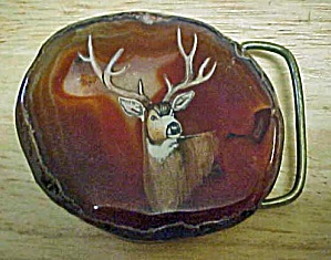 Agate w/Painted Deer Belt Buckle (Image1)