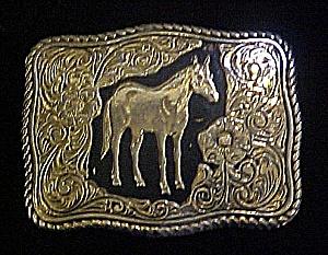 Horse Belt Buckle w/W. Floral  Design (Image1)