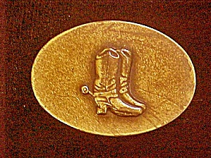 Cowboy Boots W/spur Metal Belt Buckle