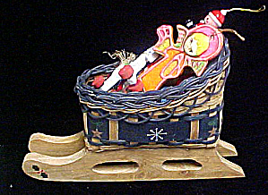 Wooden Christmas Sleigh W/ornaments