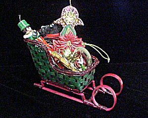 Christmas Rattan Sleigh W/assorted Ornaments