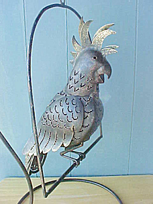 Metal Parrot On Stand