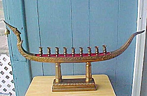 Vintage Large Metal Ship Menorah (Image1)