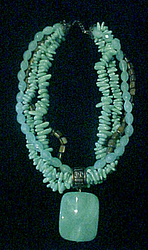 Chunky Multi-beads/strands Necklace - 17 Inch