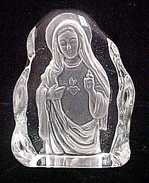 Virgin Mary Embossed In Glass