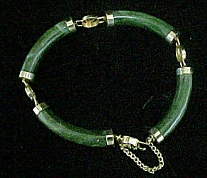 Chinese Dark Green Jade Style Link Bracelet (Image1)