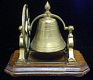 Vintage Brass Dinner Bell W/wood Base