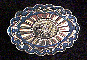 Belt Buckle - Blue/Silver-Toned - Floral (Image1)