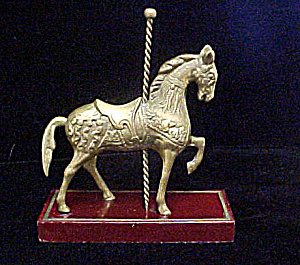 Vintage Carousel Metal Horse On Stand