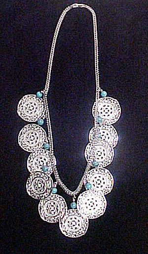 Monet Filigree Silver-toned Disks w/Beads (Image1)