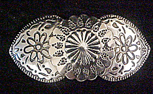 Silver-toned Pin W/floral Design